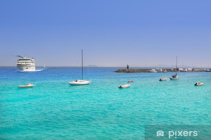 Papier peint vinyle Plage Lanzarote Playa Blanca dans l'Atlantique - Vacances