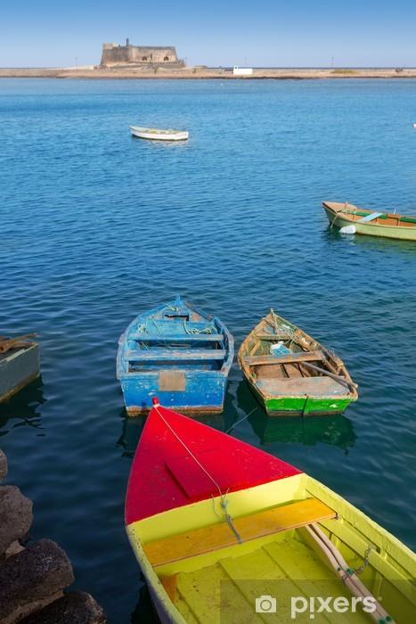 Sticker Pixerstick Arrecife Lanzarote bateaux dans le port au Canaries - Vacances