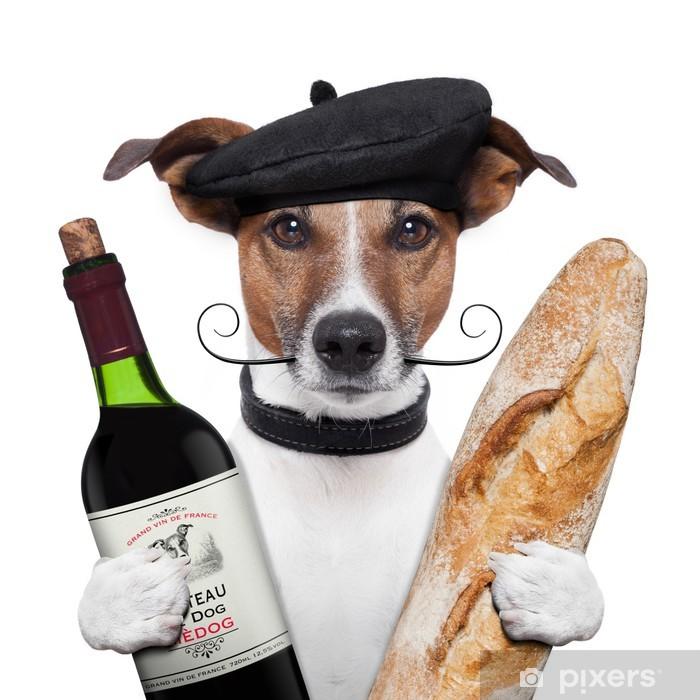 Vinyl Fotobehang Franse hond wijn stokbrood baret - Vakantie