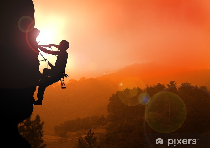 Mountain Climbing On Sunset Wall Mural Pixers 174 We Live