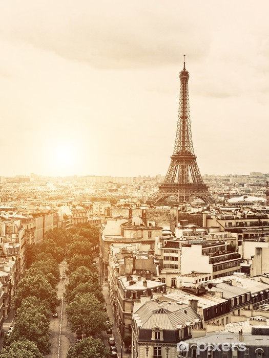 Eiffel from the Arch of Triumph Vinyl Wall Mural - iStaging