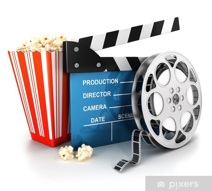 Papier peint vinyle 3d cinema clapper, bobine de film et pop-corn - Thèmes