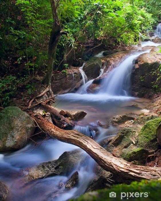 Vandfald i tropisk skov. Bjergflod, sten med mos a Vinyl fototapet -