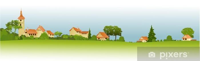 Naklejka Pixerstick Krajobrazu wiejskiego z małego miasta - Pory roku