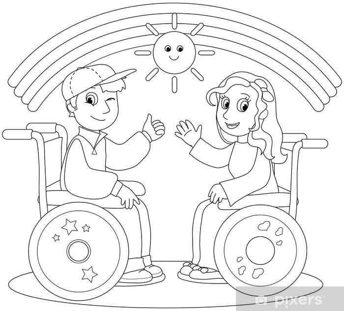 Vinilo Pixerstick Colorear la ilustración de la sonrisa de niño y niña en silla de ruedas. - Salud y medicina