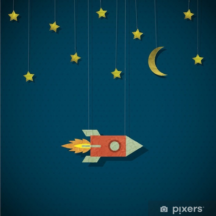 Vintage rocket in space Pixerstick Sticker - Styles