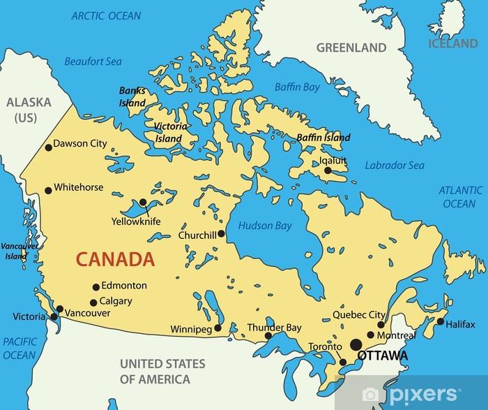 Papier peint vinyle Canada - vecteur carte - Amérique