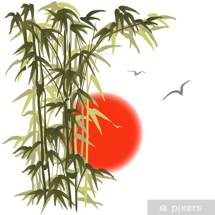 Papier peint vinyle Bambou sur fond coucher de soleil - Autres sentiments