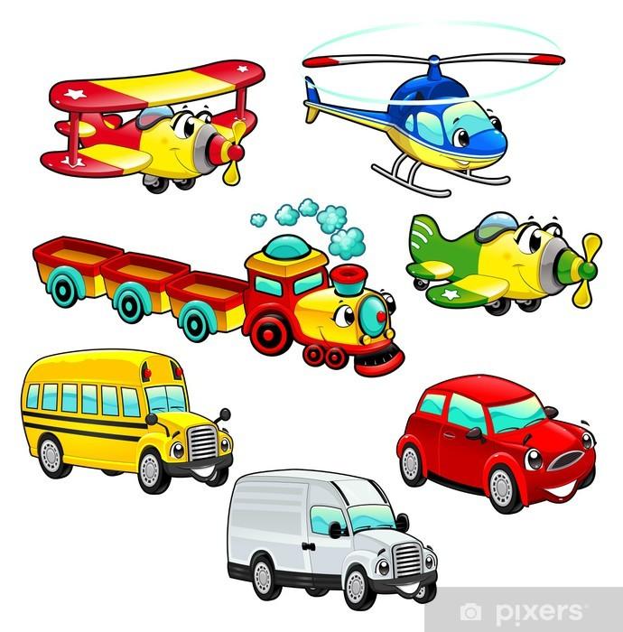 Vinilo para Nevera Vehículos divertidos. Dibujos animados y personajes de vectores aislados. - Por carretera