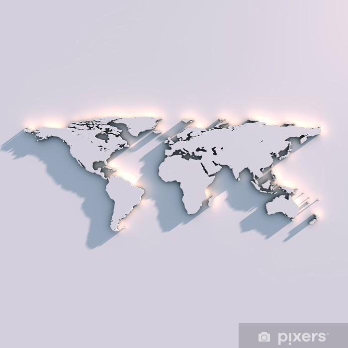 Pixerstick Sticker Wereldkaart reliëf op de muur - Thema's