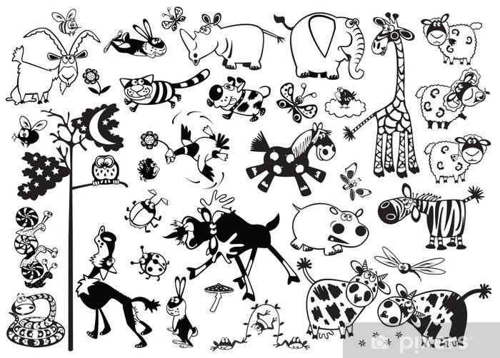 Pixerstick Dekor Svart och vitt set med cartoon barnsliga djur - Däggdjur
