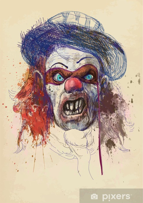 scary clown (drawing, old brown paper - background) Washable Wall Mural - Themes