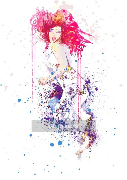 Sticker mural Femme en robe d'été (dessin, isolé sur fond blanc) - Sticker mural
