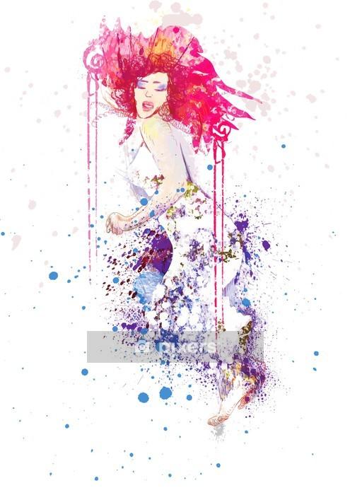 Wandtattoo Frau im Sommerkleid (Zeichnung, isoliert auf weiß) - Wandtattoo