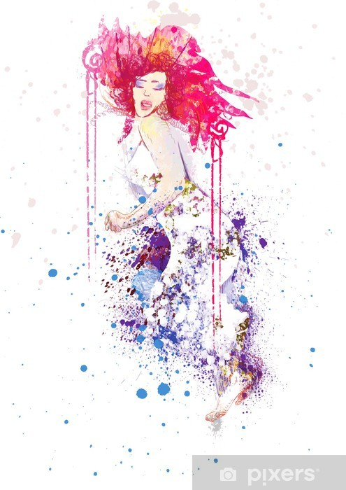 woman in summer dress (drawing, isolated on white) Pixerstick Sticker - Wall decals