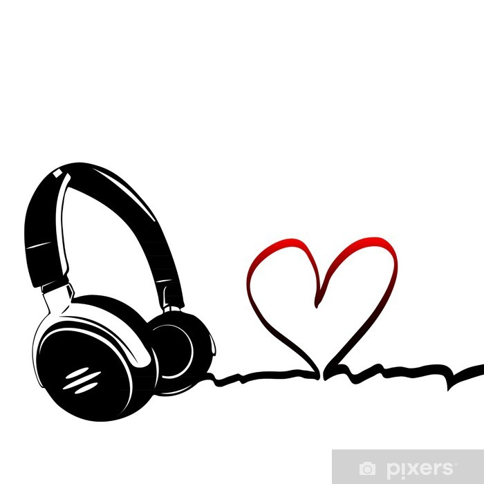 Heart With Headphones Love Of Music Wall Mural Pixers We Live