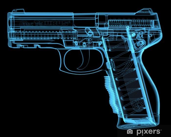 Fototapeta winylowa Pistol (3D xray niebieski przezroczysty) - Znaki i symbole