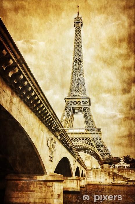 Vinilo Pixerstick Torre Eiffel vista desde el vintage retro río Sena, París - Temas