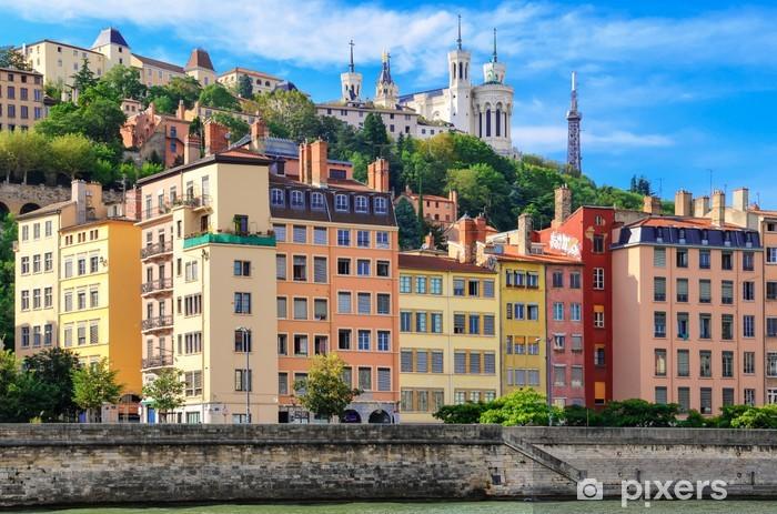 Sticker Pixerstick Lyon paysage urbain de la rivière Saône avec les maisons colorées, France - Thèmes