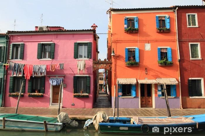 Carta da Parati in Vinile Case veneziane di Burano a Venezia, Italia - Città europee