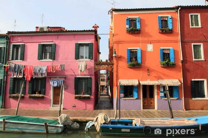 Venetian houses of Burano Island in Venice, Italy Vinyl Wall Mural - European Cities