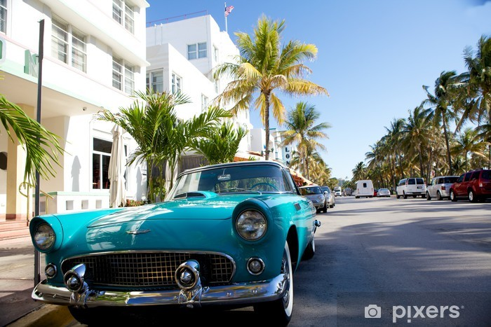 View of Ocean drive with a vintage car Vinyl Wall Mural - America