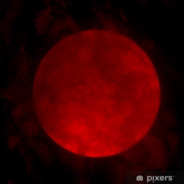 Papier peint lavable Red pleine lune et les nuages 3d - Thèmes