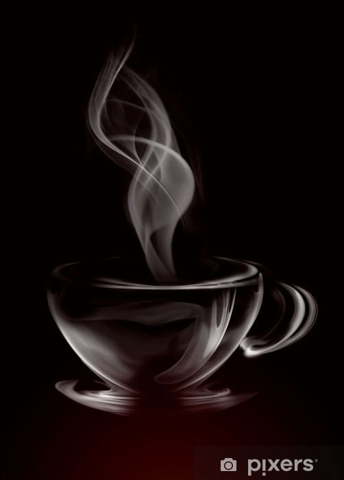 Pixerstick Sticker Artistieke Illustratie Rook Kopje Koffie op zwart -
