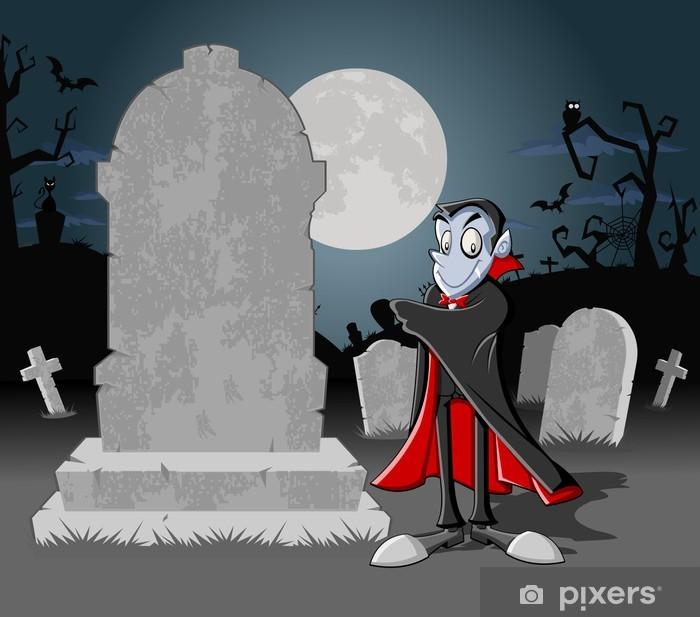 Carta da parati halloween cimitero con tombe e vampiro dei cartoni