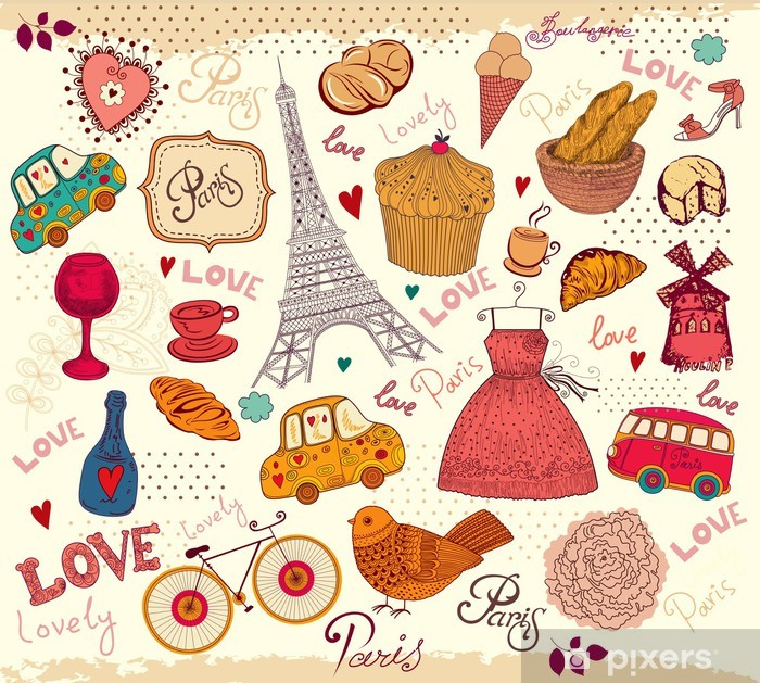 Plakat Wektor zestaw symboli paris - Style