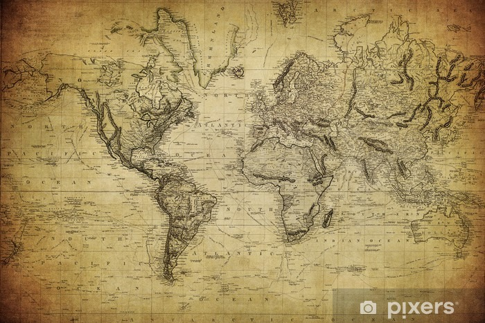 vintage map of the world 1814.. Pixerstick Sticker - Themes