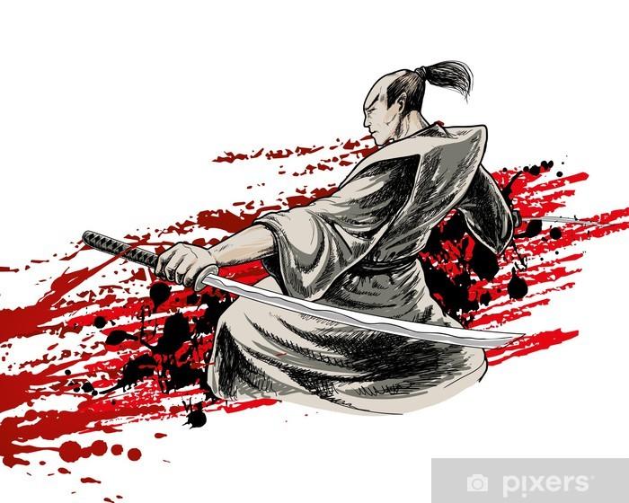 Sticker Pixerstick Japon guerrier - Arrière plans