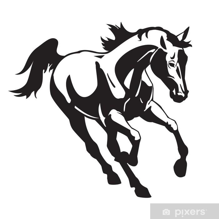 Plakat Running Horse czarny obraz biały - Naklejki na ścianę