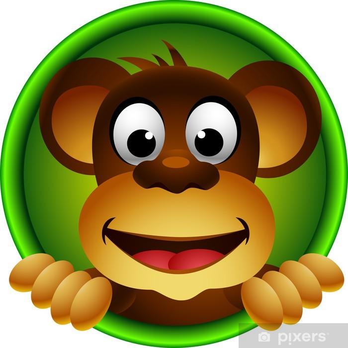 Sevimli Maymun Kafa Karikatür Duvar Resmi Pixers Haydi