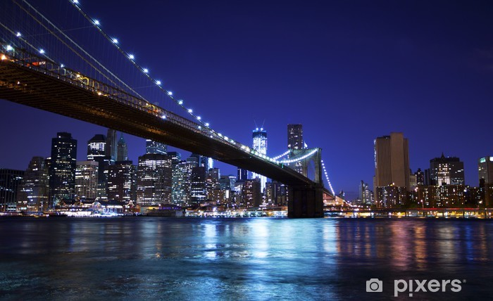 Naklejka Pixerstick Brooklyn Bridge i Skyline w nocy - Brooklyn Bridge