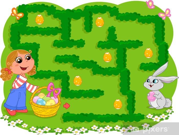 Fotobehang Pasen doolhof, verzamel versierde eieren en ga naar het ...