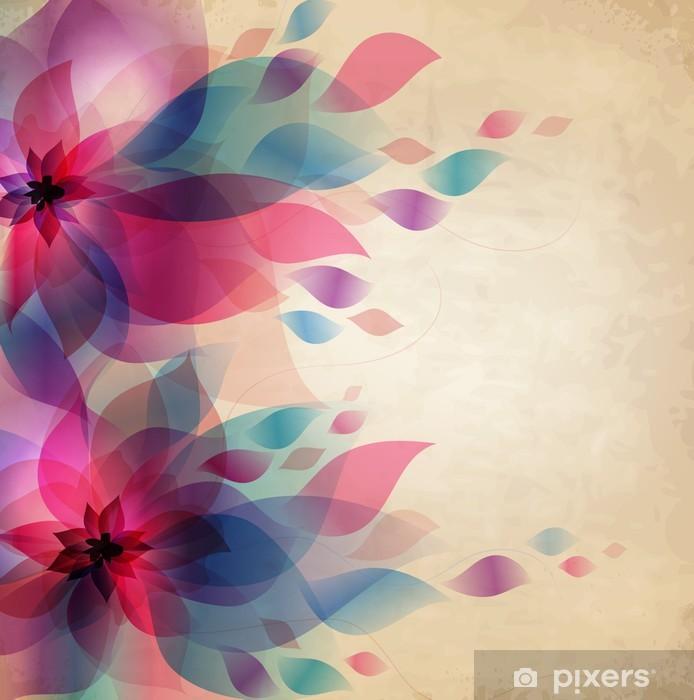 Naklejka na szybę i okno Streszczenie kolorowe tło z kwiatami, karty rocznika wakacje - Style