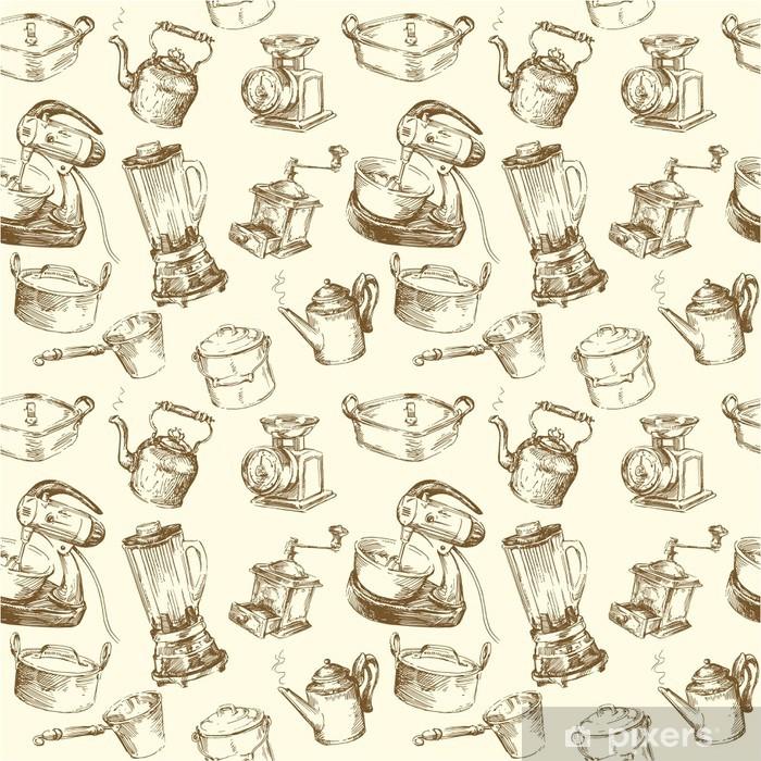 Kitchen Utensils Kitchenware Seamless Wallpaper Wall Mural Pixers