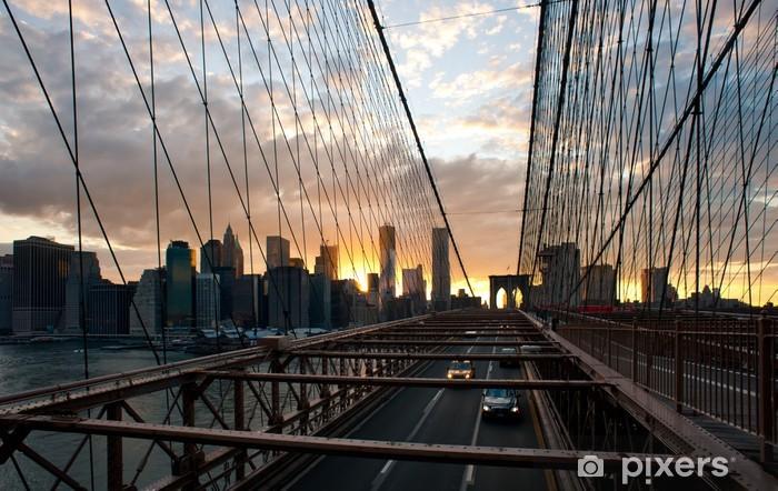 Vinyl-Fototapete Panorama-Aufnahme der Skyline von Manhattan von der Brooklyn Bridge - Amerikanische Städte