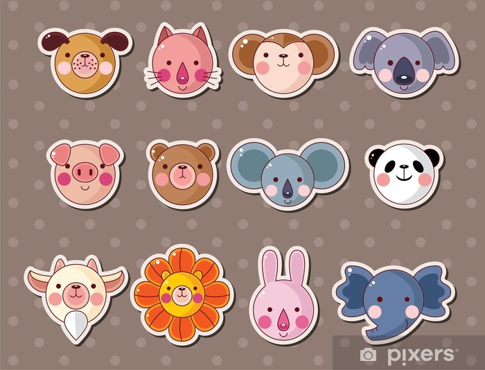 animal face stickers Pixerstick Sticker - Signs and Symbols