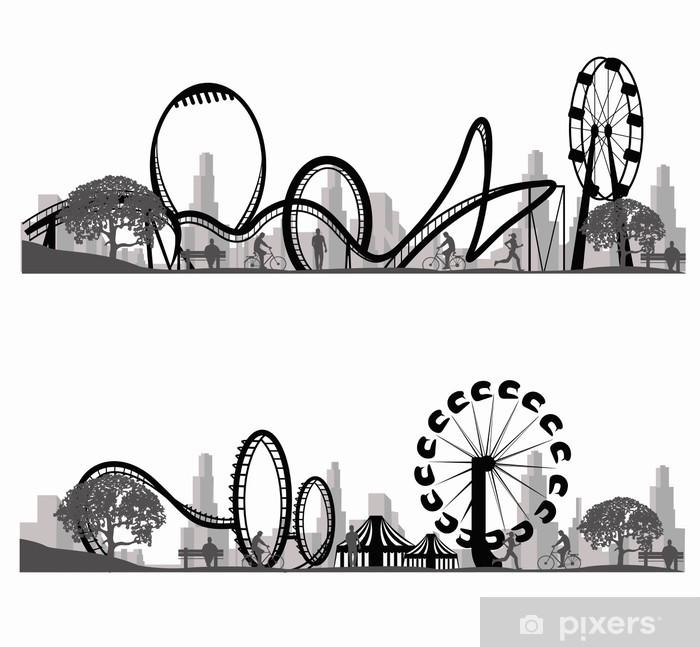 Papier peint vinyle Vecteur illustration.Roller Coaster Silhouette - Divertissements
