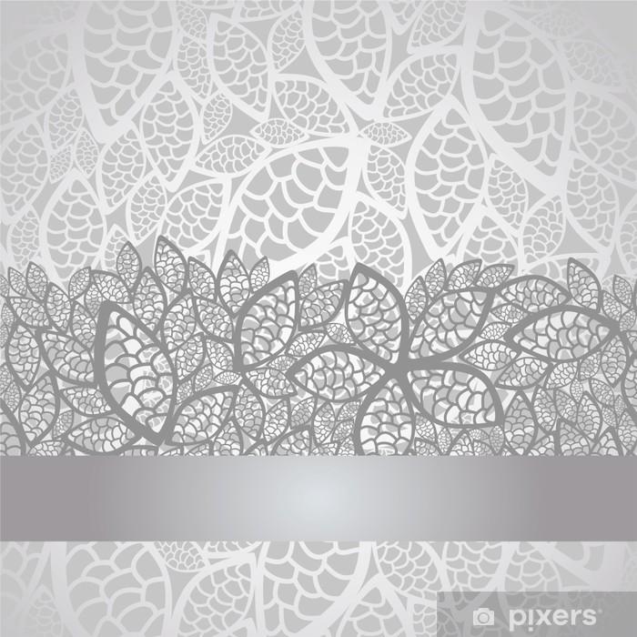 Fototapeta winylowa Luksusowe liści srebrny koronki obramowanie i tło - Style