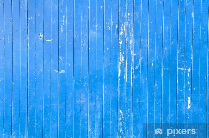 Sticker Pixerstick Mur en bois bleu - Textures