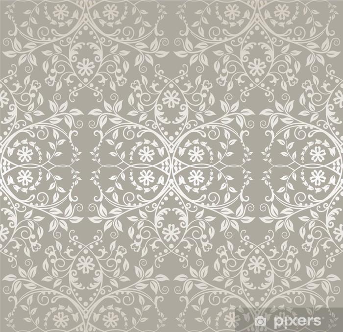 Naklejka Pixerstick Powtarzalne srebrny koronki kwiatów i liści tapety - Tematy
