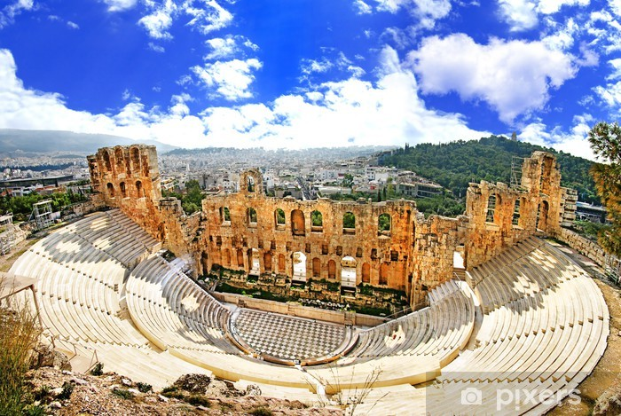ancient theater in Acropolis Greece, Athnes Lack Table Veneer - European Cities