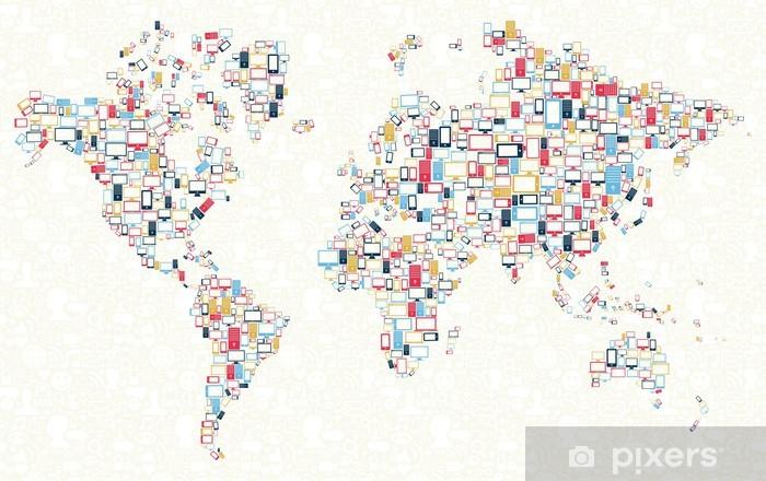 Vinyl Fotobehang Gadgets pictogrammen illustratie van de wereldkaart - Achtergrond