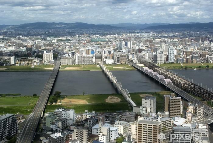 Vinylová fototapeta Letecký pohled na město, Osaka, Japonsko - Vinylová fototapeta