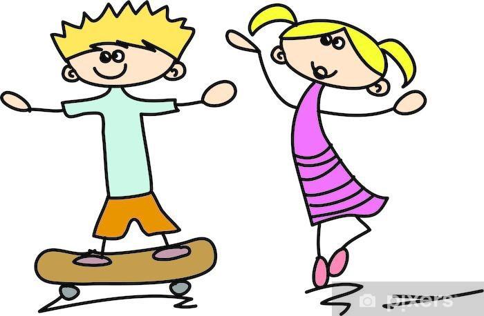 Naklejka Pixerstick Śliczne szczęśliwe dzieci kreskówki - Dzieci