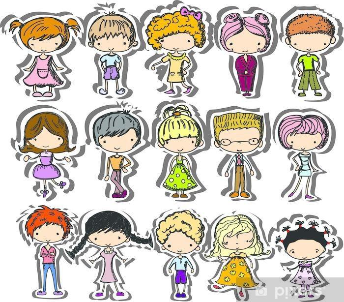 Poster Dessins de bande dessinée de mode des enfants - Mode