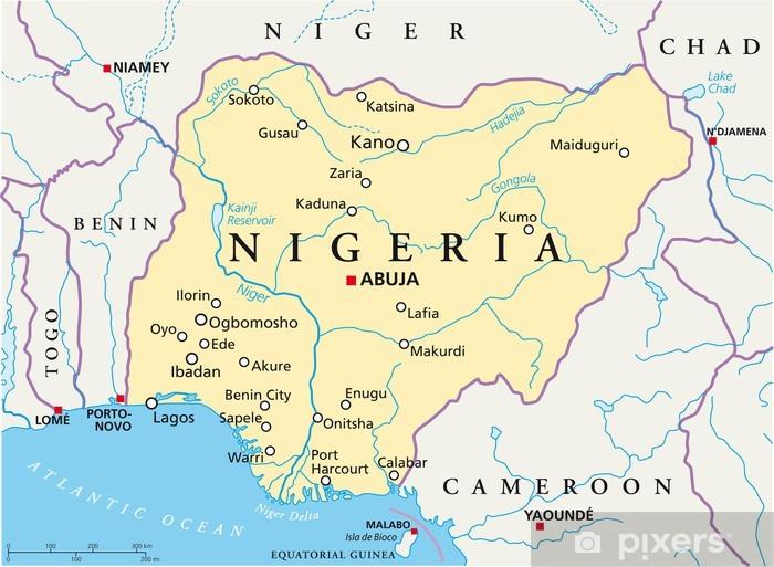 nigeria karte Nigeria map (Nigeria Landkarte) Wall Mural • Pixers® • We live to